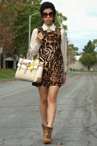 brown Michael Kors boots - dark brown DIY dress - eggshell Reed Krakoff bag