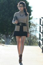 black rachel roy skirt - black firmoo glasses - black Anne Klein belt
