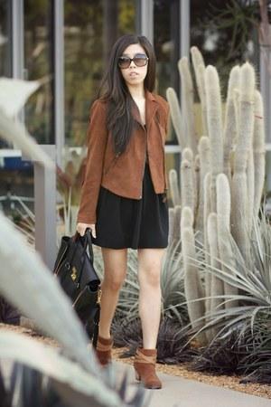 dark brown Mural jacket - brown DV by dolce vita boots - black Sugarlips dress