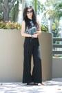 Black-chanel-sunglasses-black-kensie-pants-teal-top-teal-deux-lux-wallet