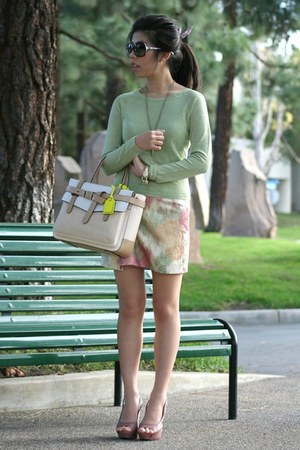 off white Reed Krakoff bag - black Chanel sunglasses - lime green H&M skirt