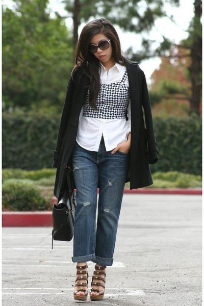 black TJ Maxx top - black Nordstrom coat - white hollister shirt