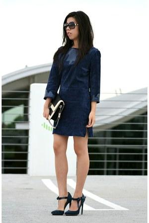 navy Topshop dress - navy Rebecca Minkoff bag - navy LAMB heels