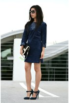 navy Topshop dress - navy Rebecca Minkoff bag - navy LAMB heels