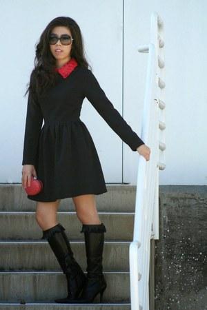 black Nine West boots - ruby red TJ Maxx bag - black Chanel sunglasses