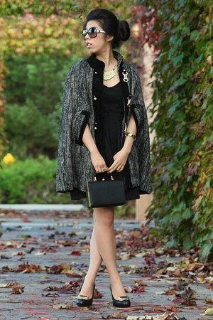 gray milly cape - black Sugarlips dress - black Chanel sunglasses
