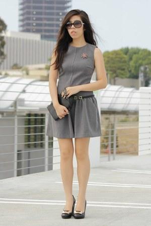 black Louis Vuitton bag - heather gray Zara dress - black Chanel sunglasses