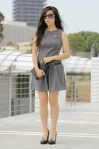 black Louis Vuitton bag - heather gray Zara dress - black Chanel sunglasses