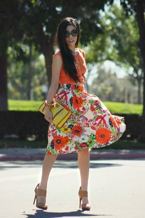 carrot orange eShakti skirt - gold tory burch bag - black Chanel sunglasses