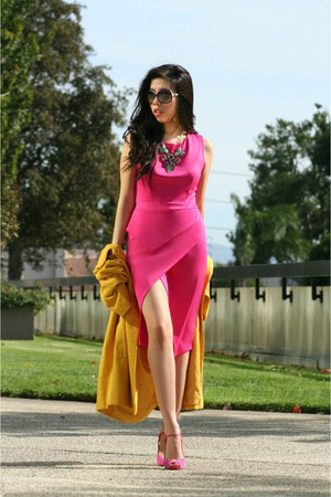 hot pink OASAP dress - mustard Kenar coat - black Chanel sunglasses