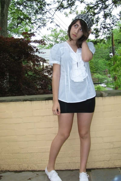 white H&M hat - white sneakers Keds shoes - black American Apparel dress