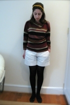 gift top - catherine malandrino shorts - DKNY tights - DIY accessories