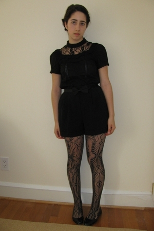 black lace top H&amp;M top - black lace DKNY tights