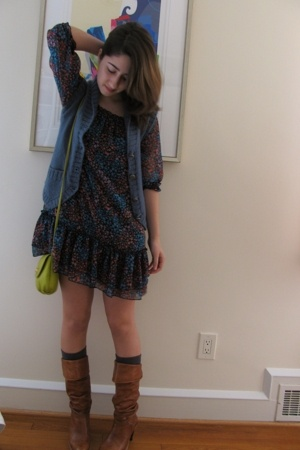 H&M dress - Marc Jacobs vest - H&M purse - H&M socks - Frye boots