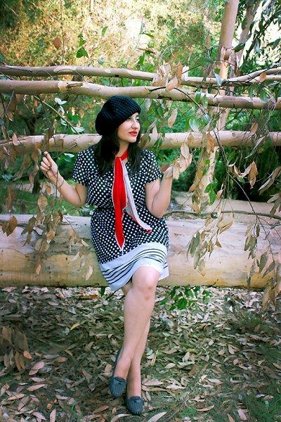 ruby red scarf - gray shoes - black polka dots dress - black hat - black belt