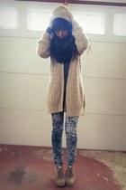 navy Macys jeans - beige Urban Outfitters hat - beige H&M cardigan