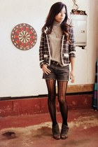 heather gray patterned Urban Outfitters blazer - black patterned no brand tights