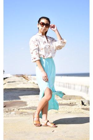 camel vintage blouse - light blue deb skirt - burnt orange Skechers sandals