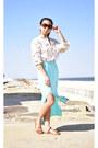 Camel-vintage-blouse-light-blue-deb-skirt-burnt-orange-skechers-sandals