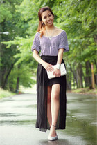 black Sheinside skirt - silver shoplately necklace - black Zara blouse