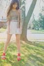 Camel-zara-cardigan-red-forever-21-bracelet-ivory-urban-outfitters-skirt