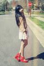 Camel-zara-cardigan-ivory-urban-outfitters-skirt-red-forever-21-bracelet