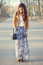 silver Living Doll LA skirt - bronze Macys jacket - white Zara blouse
