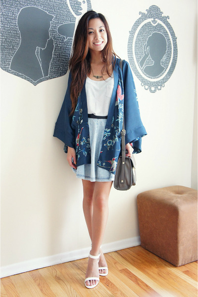 teal kimono Choies cardigan - heather gray leather 31 Phillip Lim bag