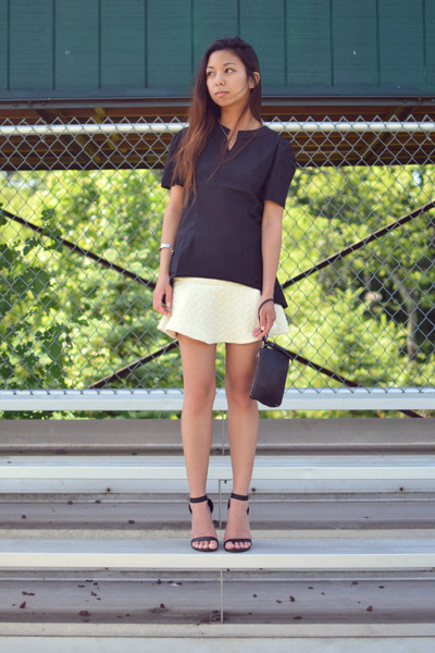 black Lovelywholesale top - ivory PERSUNMALL skirt - black Anne Michelle heels
