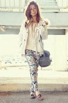 teal madewell pants - ivory H&M jacket - heather gray Zara bag
