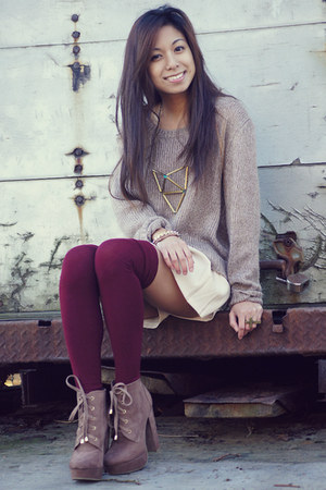 camel H&M sweater - maroon Soxxy socks - ivory random from Hong Kong skirt