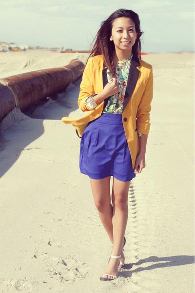 blue chiffon Vintage Havana skirt - mustard mustard Mart of China blazer