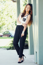 white perforated Deb Shops top - black harem Deb Shops pants