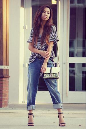 black striped Zara blouse - navy boyfriend jeans de chemin jeans jeans