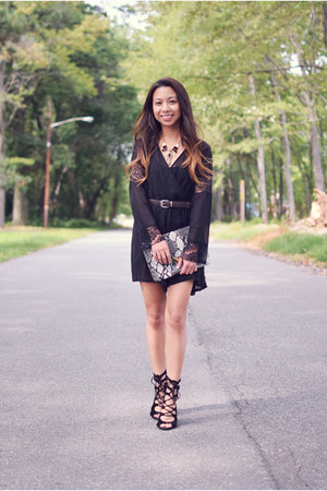 black lace Newdress romper - black snakeskin CNdirect bag