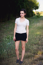 dark gray suede Gap shoes - black suede Forever 21 shorts - beige BDG t-shirt