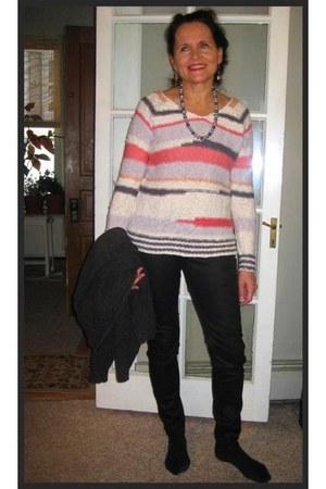 silver pinkgrey silver kohls jumper - black skinny jeans Rock & Republic jeans