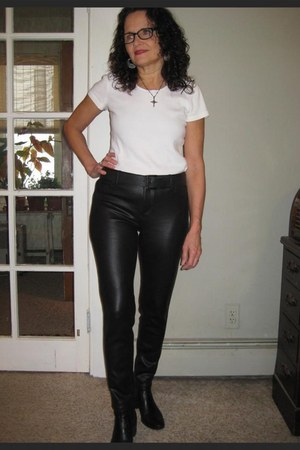 Steve Madden boots - white Gap t-shirt - black H&M pants - gifted necklace