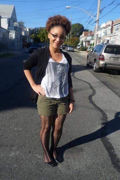 Forever 21 shirt - Old Navy shorts - Pretty girl cardigan - rainbow stockings