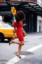 red American Apparel dress - black Christian Louboutin shoes