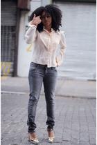 H&M blouse - hudson jeans jeans - Miu Miu shoes