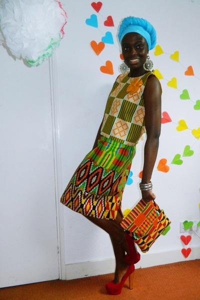 CJAJ09 bag - african print CJAJ09 top - CJAJ09 skirt - Ebay heels