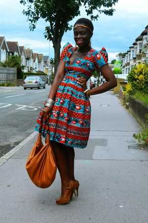 african print CJAJ09 dress - DIY hat - H&M bag - new look heels