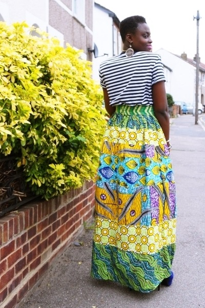 maxi House of Ankara skirt - blue suede Ebay boots - striped Primark t-shirt