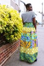 Blue-suede-ebay-boots-maxi-house-of-ankara-skirt-striped-primark-t-shirt