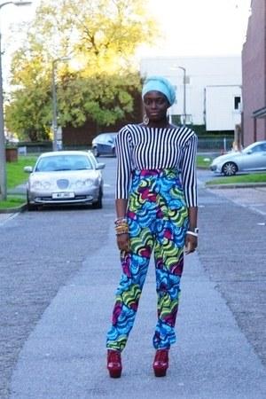 african print CJAJ09 pants - Ebay wedges - SESwatson top