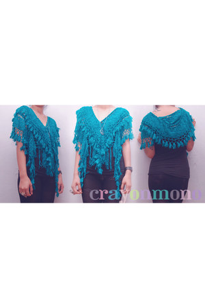 turquoise blue knitted crayonmono vest