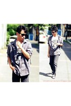 black jeans - periwinkle shirt - black sneakers - white t-shirt