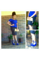 blue peplum blouse - black pencil skirt - blue wedges