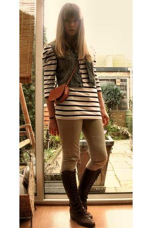 blue h&mdiy vest - white Vila shirt - beige Zara pants - brown vintage boots - b